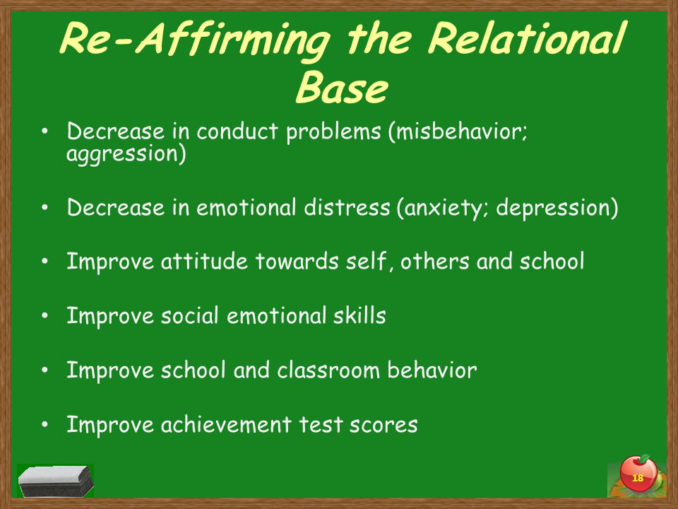 Re-Affirming the Relational Base Decrease in conduct problems (misbehavior; aggression) Decrease in emotional distress (anxiety; depression) Improve attitude towards self, others and school Improve social emotional skills Improve school and classroom behavior Improve achievement test scores 18