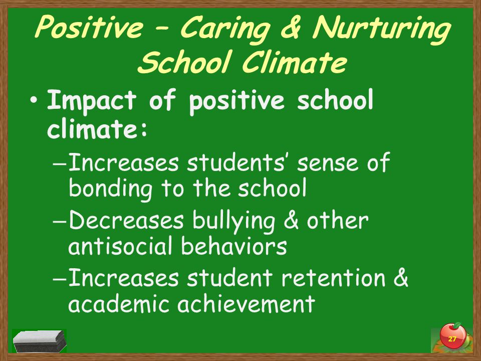 Positive – Caring & Nurturing School Climate Impact of positive school climate: – Increases students' sense of bonding to the school – Decreases bullying & other antisocial behaviors – Increases student retention & academic achievement 27