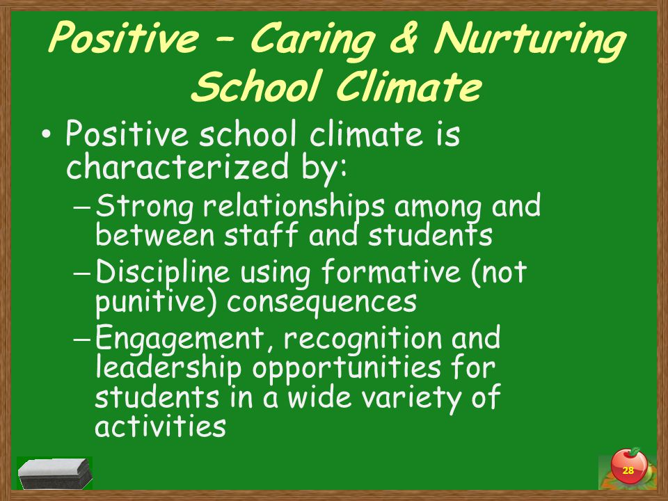 Positive – Caring & Nurturing School Climate Positive school climate is characterized by: – Strong relationships among and between staff and students – Discipline using formative (not punitive) consequences – Engagement, recognition and leadership opportunities for students in a wide variety of activities 28