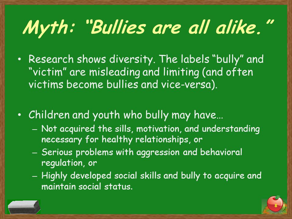 Myth: Bullies are all alike. Research shows diversity.