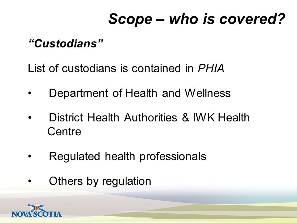 Scope – who is covered.