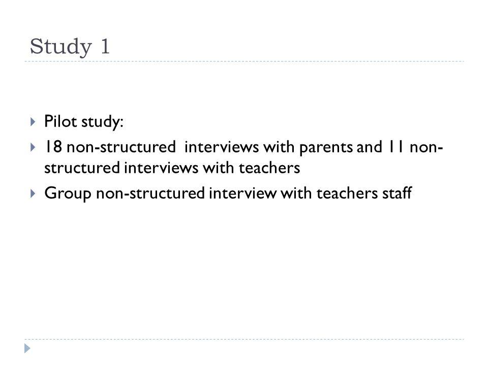 Study 1  Pilot study:  18 non-structured interviews with parents and 11 non- structured interviews with teachers  Group non-structured interview wi