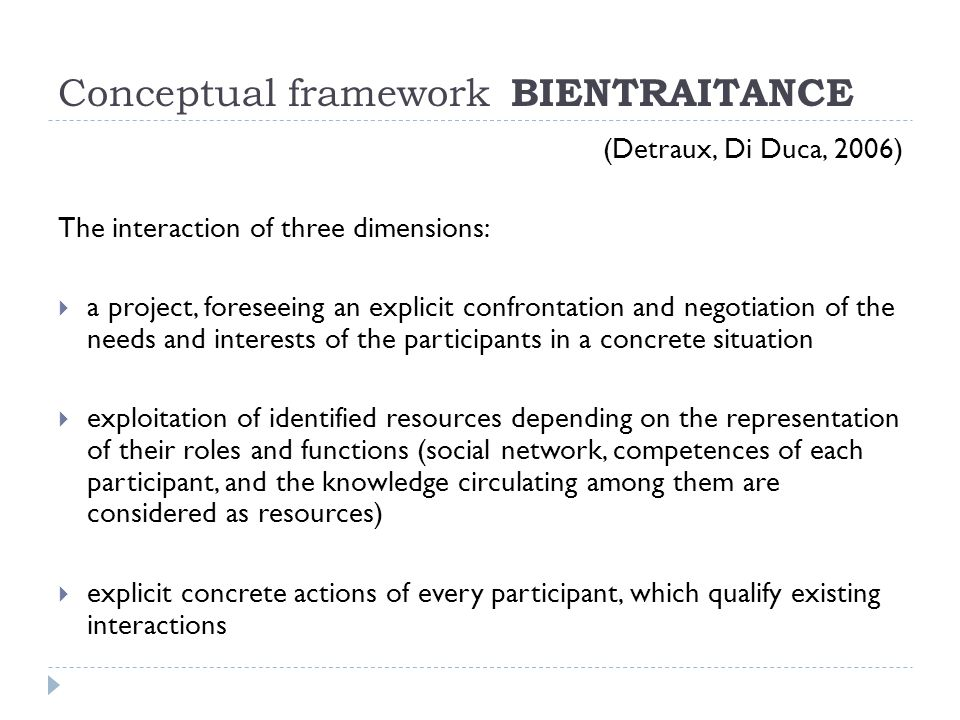 Conceptual framework BIENTRAITANCE (Detraux, Di Duca, 2006) The interaction of three dimensions:  a project, foreseeing an explicit confrontation and