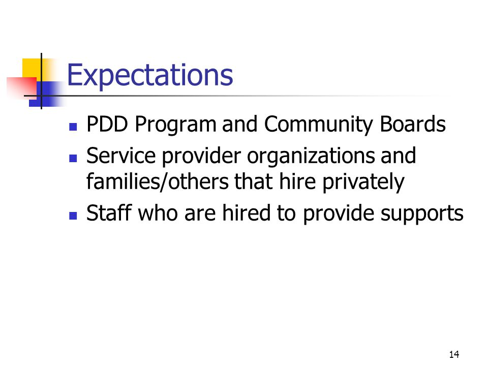 14 Expectations PDD Program and Community Boards Service provider organizations and families/others that hire privately Staff who are hired to provide