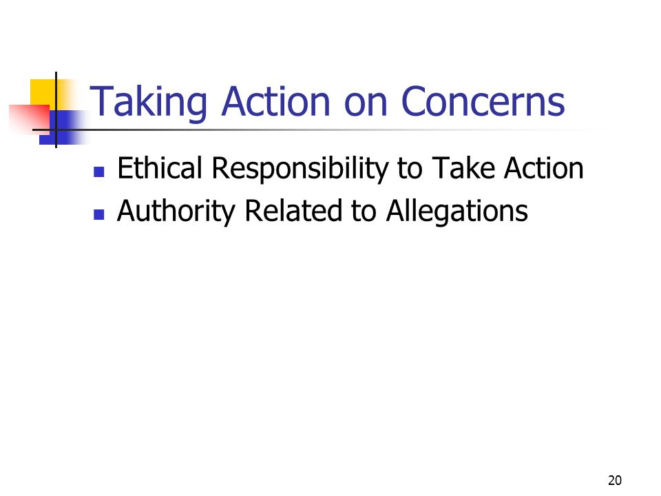 20 Taking Action on Concerns Ethical Responsibility to Take Action Authority Related to Allegations