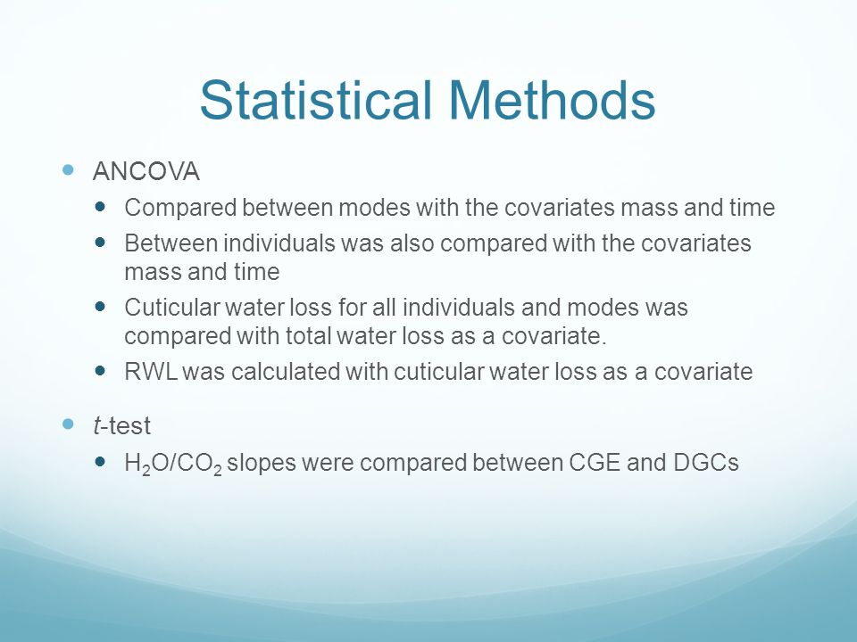 Statistical Methods ANCOVA Compared between modes with the covariates mass and time Between individuals was also compared with the covariates mass and