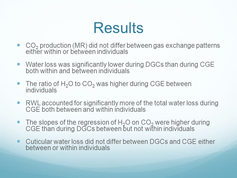 Results CO 2 production (MR) did not differ between gas exchange patterns either within or between individuals Water loss was significantly lower duri