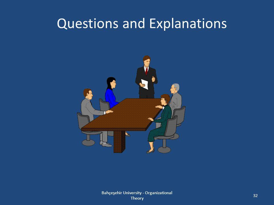Questions and Explanations 32 Bahçeşehir University - Organizational Theory