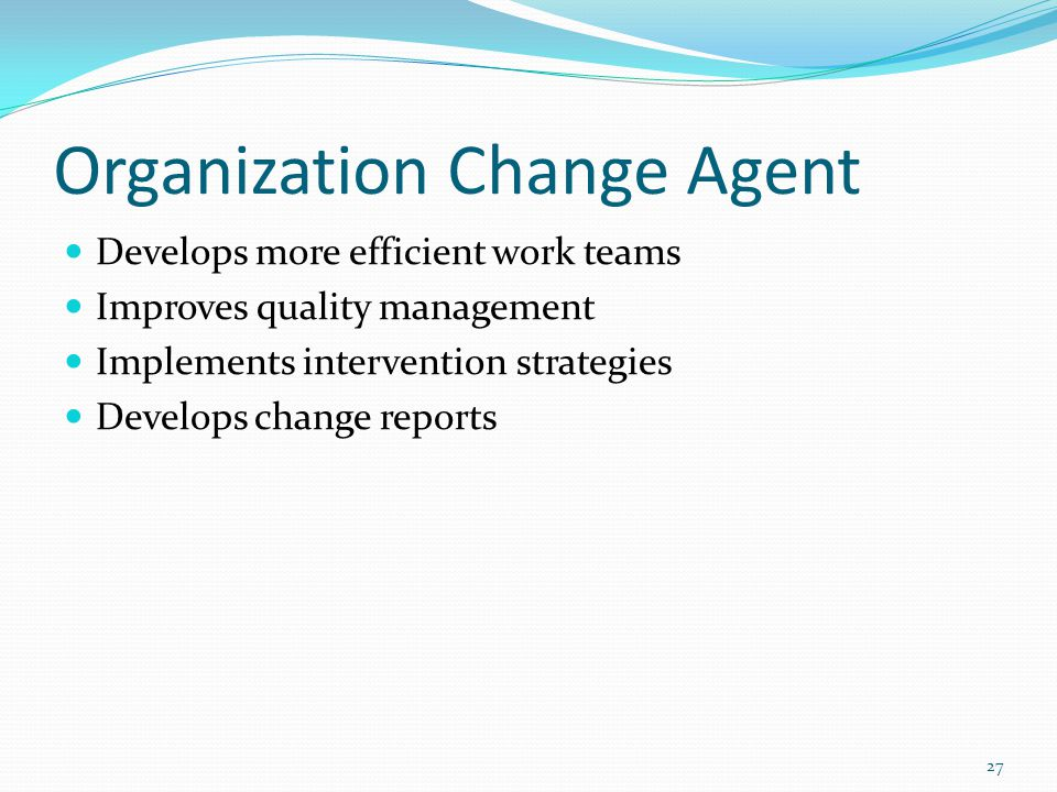 Organization Change Agent Develops more efficient work teams Improves quality management Implements intervention strategies Develops change reports 27