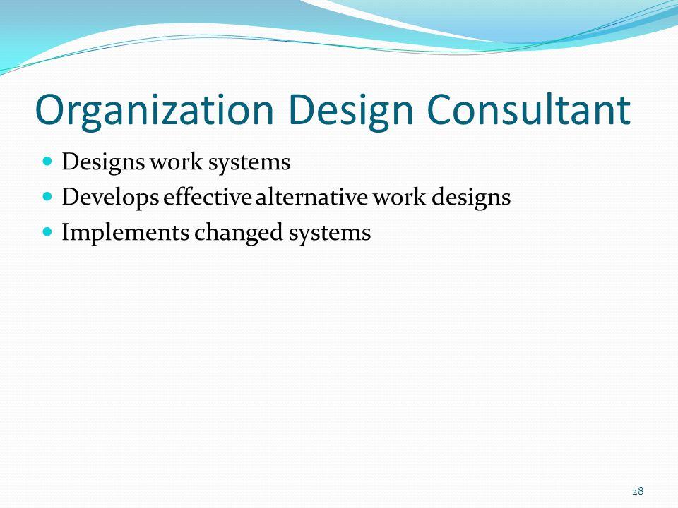 Organization Design Consultant Designs work systems Develops effective alternative work designs Implements changed systems 28