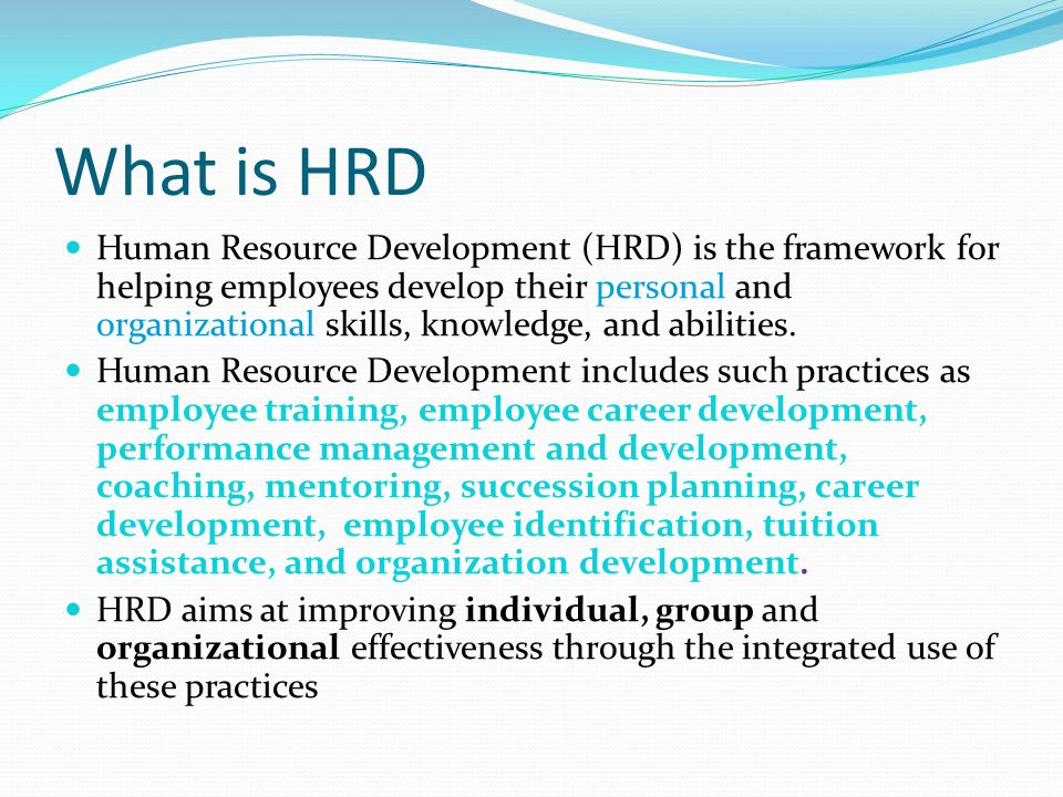 Organizational Structure of HRD Departments Depends on company size, industry and maturity No single structure used Depends in large part on how well the HRD manager becomes an institutional part of the company – i.e., a revenue contributor, not just a revenue user 14