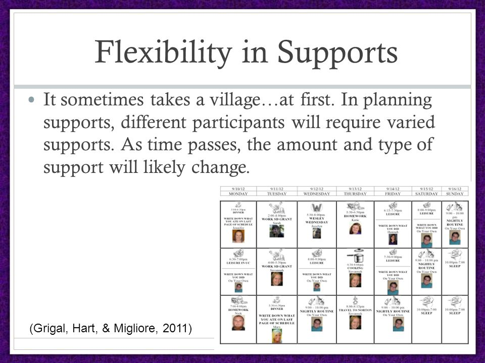 Flexibility in Supports It sometimes takes a village…at first.