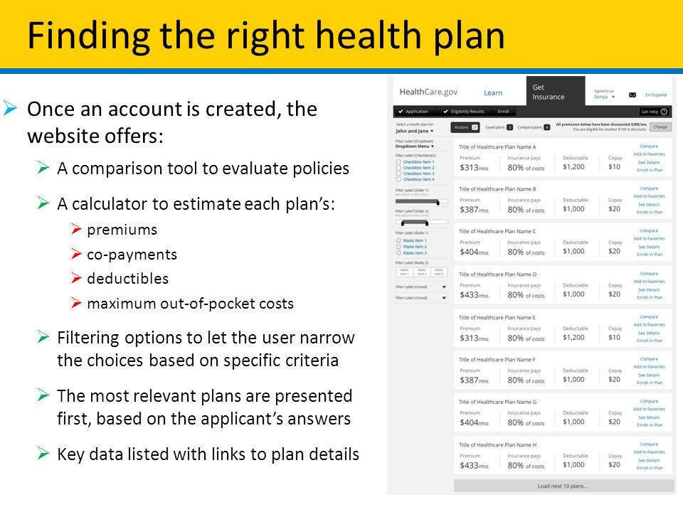 Finding the right health plan  Once an account is created, the website offers:  A comparison tool to evaluate policies  A calculator to estimate each plan's:  premiums  co-payments  deductibles  maximum out-of-pocket costs  Filtering options to let the user narrow the choices based on specific criteria  The most relevant plans are presented first, based on the applicant's answers  Key data listed with links to plan details