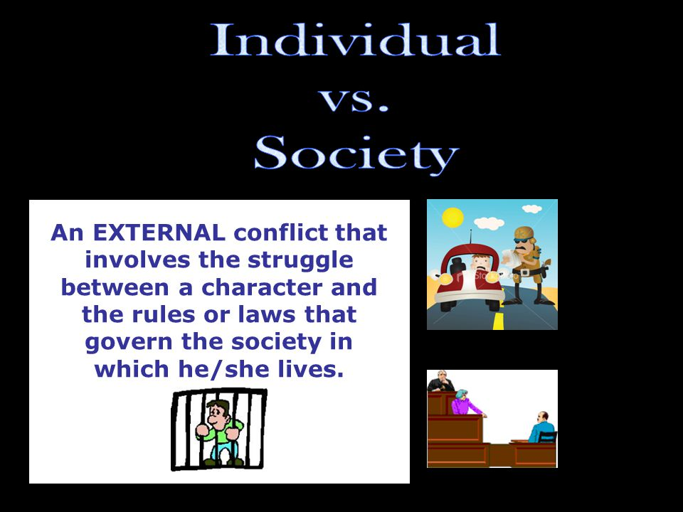 An EXTERNAL conflict that involves the struggle between a character and the rules or laws that govern the society in which he/she lives.