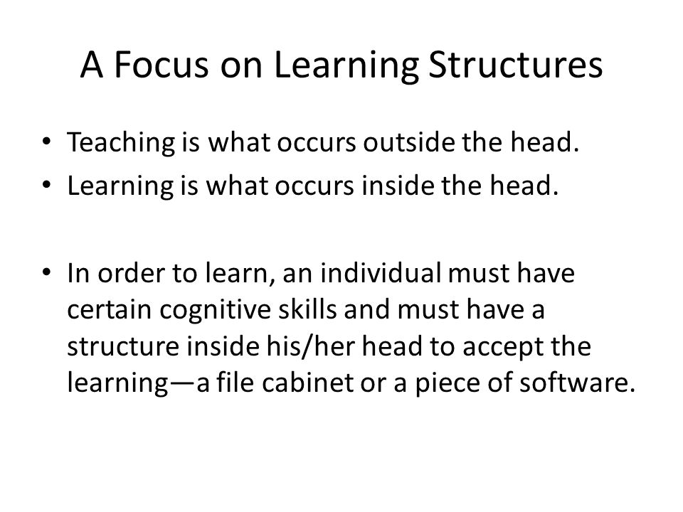 Cognitive Strategies of Support Elaboration (use of data) Strategies that will support student growth – Identify and define the problem – Select relevant clues – Compare data – Select appropriate categories of time – Summarize data – Project relationships of data – Use logical data – Test hypotheses – Build inferences – Make a plan using data – Use appropriate labels – Use data systematically