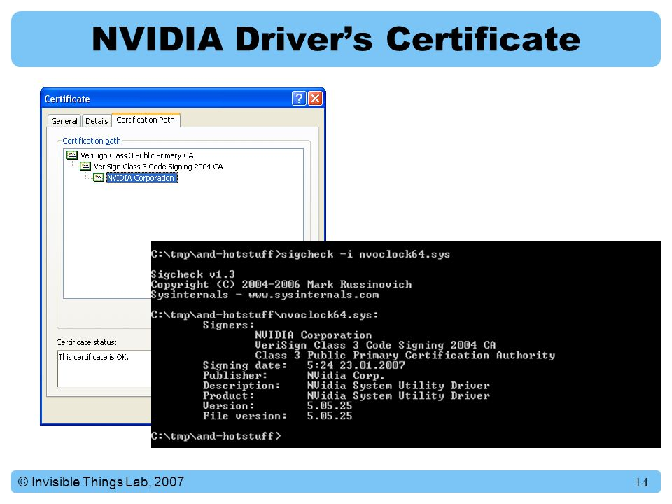 14© Invisible Things Lab, 2007 NVIDIA Driver's Certificate