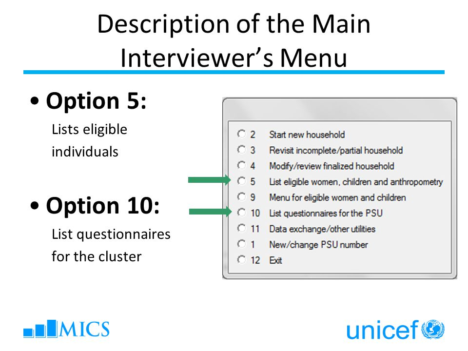 Description of the Main Interviewer's Menu Option 5: Lists eligible individuals Option 10: List questionnaires for the cluster