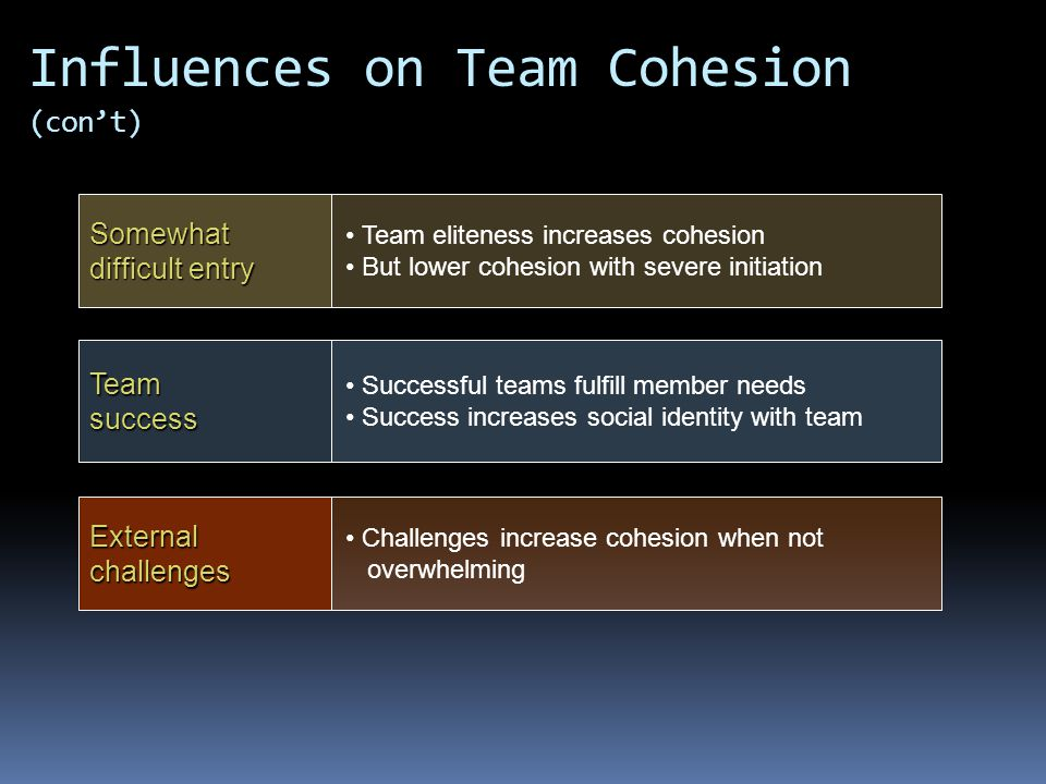 Team success External challenges Successful teams fulfill member needs Success increases social identity with team Challenges increase cohesion when not overwhelming Somewhat difficult entry Team eliteness increases cohesion But lower cohesion with severe initiation Influences on Team Cohesion (con't)