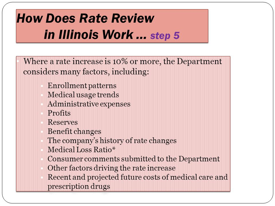 Where a rate increase is 10% or more, the Department considers many factors, including: Enrollment patterns Medical usage trends Administrative expenses Profits Reserves Benefit changes The company's history of rate changes Medical Loss Ratio* Consumer comments submitted to the Department Other factors driving the rate increase Recent and projected future costs of medical care and prescription drugs Where a rate increase is 10% or more, the Department considers many factors, including: Enrollment patterns Medical usage trends Administrative expenses Profits Reserves Benefit changes The company's history of rate changes Medical Loss Ratio* Consumer comments submitted to the Department Other factors driving the rate increase Recent and projected future costs of medical care and prescription drugs How Does Rate Review in Illinois Work … step 5 How Does Rate Review in Illinois Work … step 5