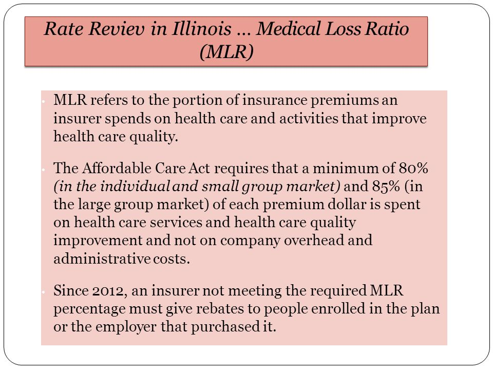 MLR refers to the portion of insurance premiums an insurer spends on health care and activities that improve health care quality.