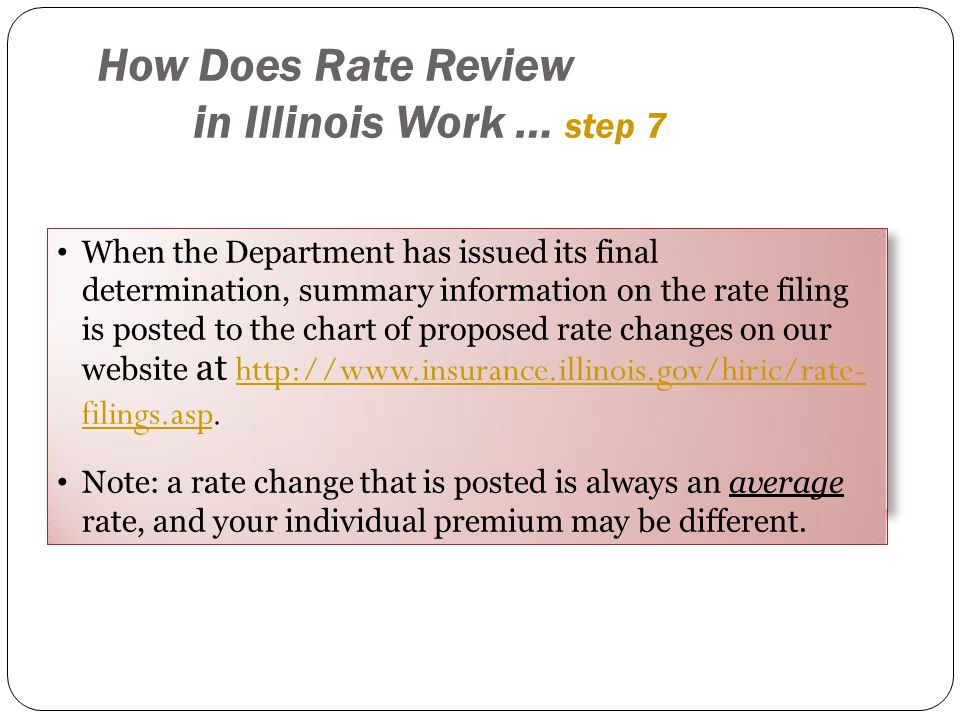 When the Department has issued its final determination, summary information on the rate filing is posted to the chart of proposed rate changes on our