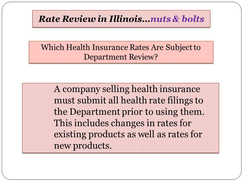 A company selling health insurance must submit all health rate filings to the Department prior to using them. This includes changes in rates for exist