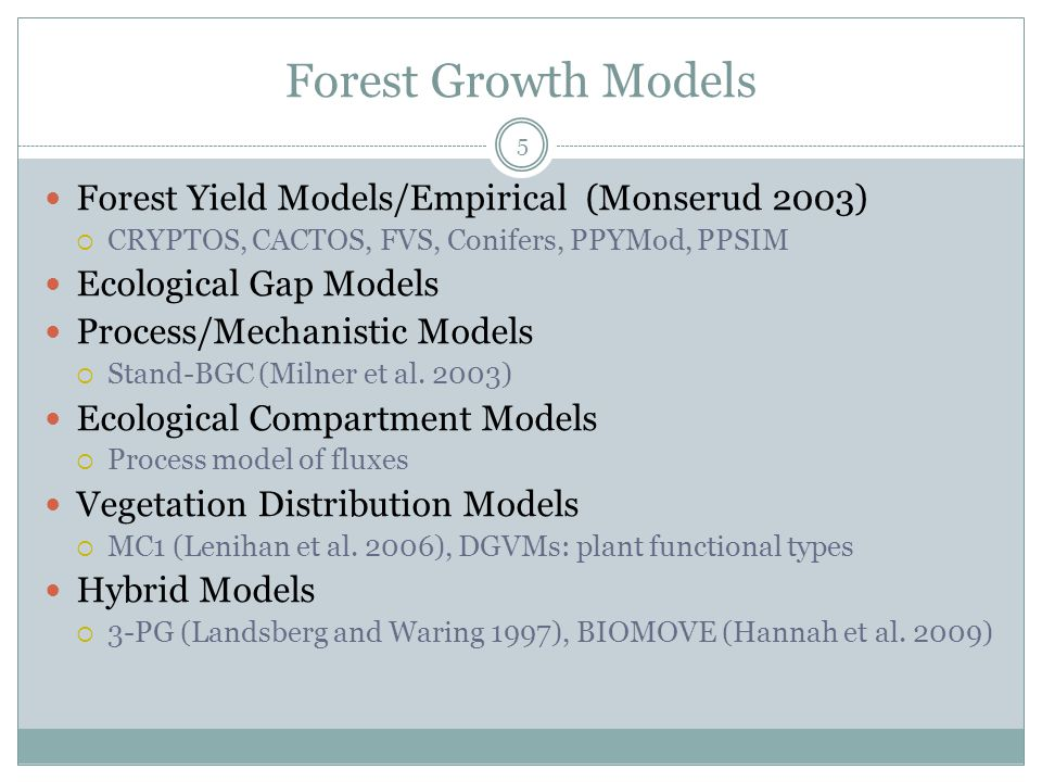 Forest Growth Models Forest Yield Models/Empirical (Monserud 2003)  CRYPTOS, CACTOS, FVS, Conifers, PPYMod, PPSIM Ecological Gap Models Process/Mechanistic Models  Stand-BGC (Milner et al.