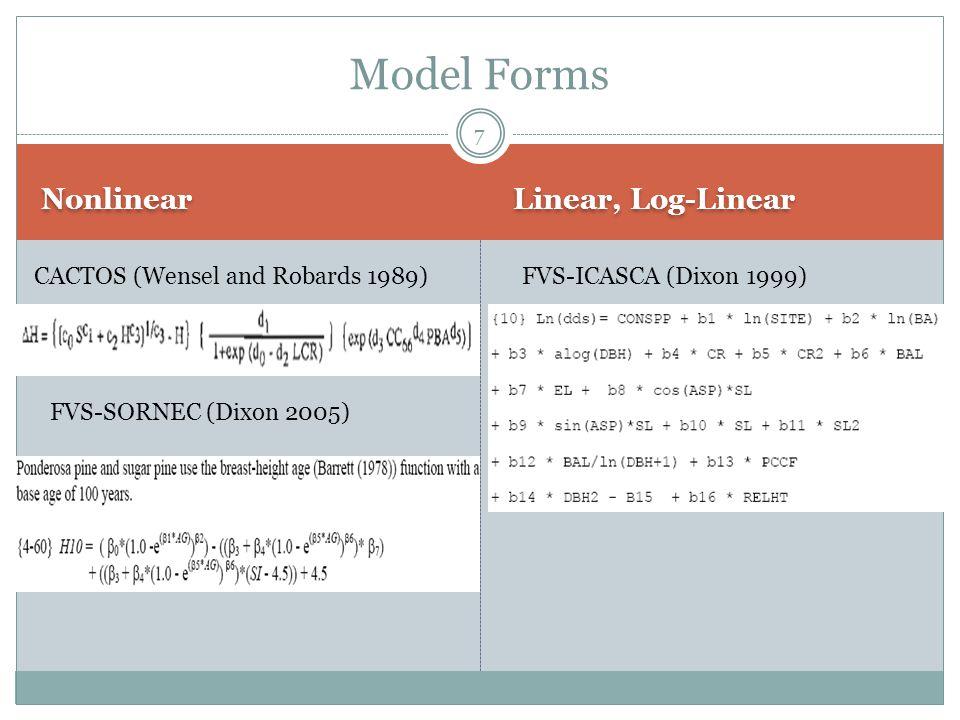 Nonlinear Linear, Log-Linear Model Forms CACTOS (Wensel and Robards 1989)FVS-ICASCA (Dixon 1999) FVS-SORNEC (Dixon 2005) 7