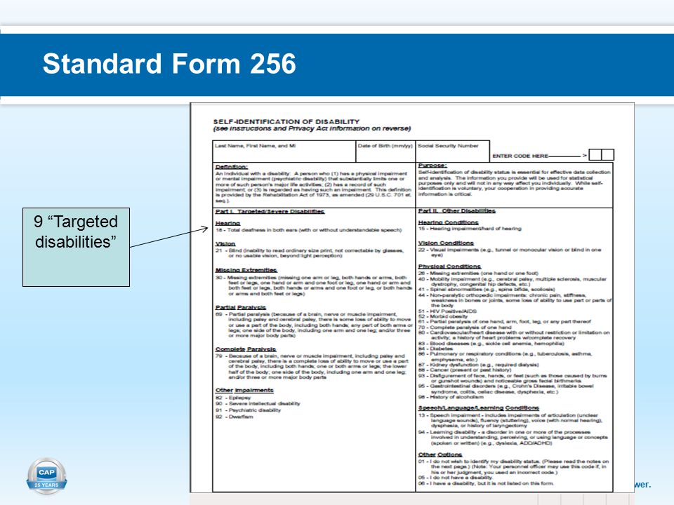 Support. Equip. Empower. Standard Form 256 9 Targeted disabilities