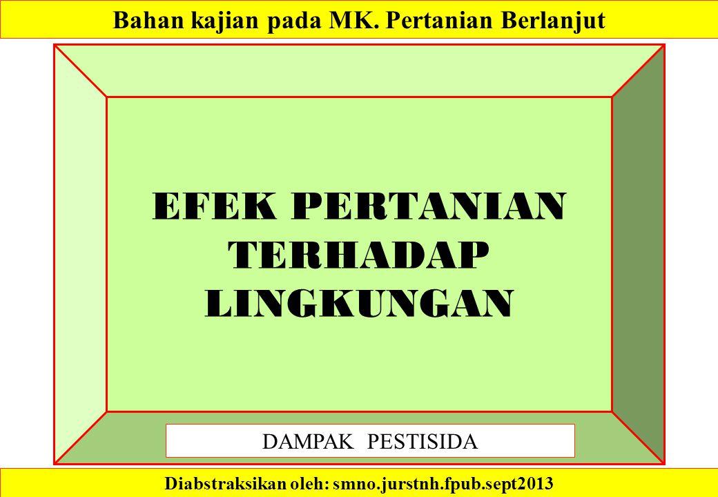 EFEK PERTANIAN TERHADAP LINGKUNGAN Diabstraksikan oleh: smno.jurstnh.fpub.sept2013 Bahan kajian pada MK.