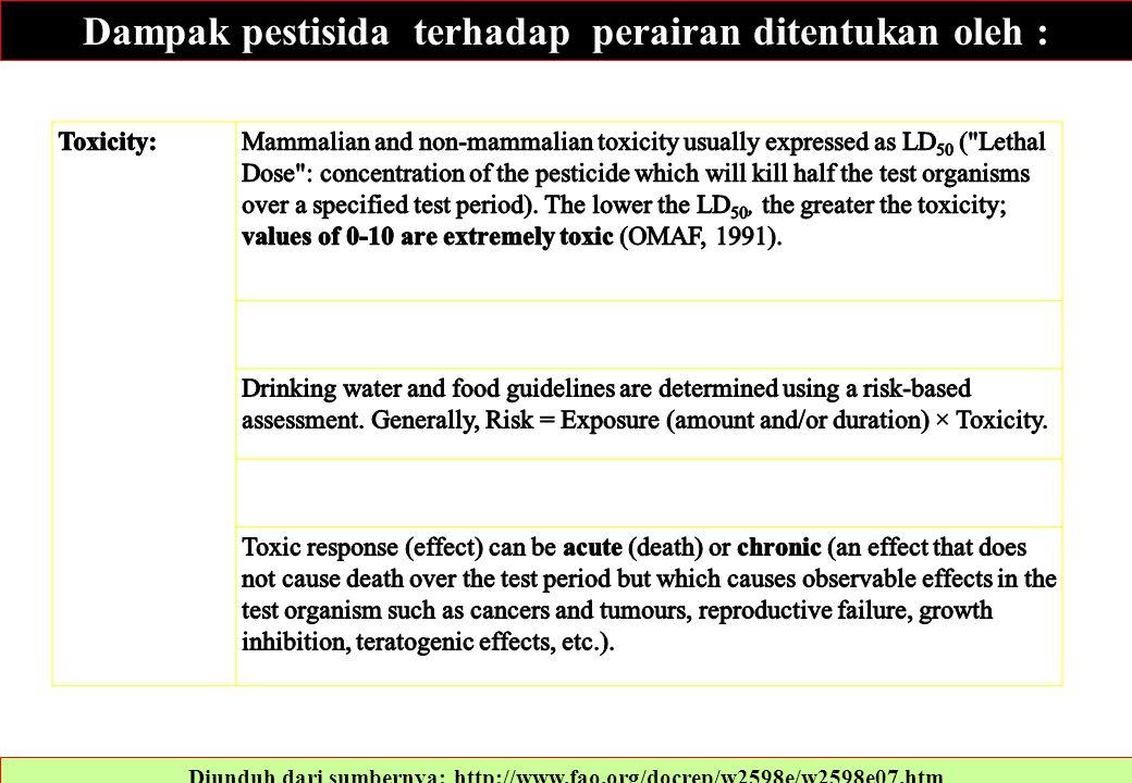 Diunduh dari sumbernya: http://www.fao.org/docrep/w2598e/w2598e07.htm Dampak pestisida terhadap perairan ditentukan oleh :