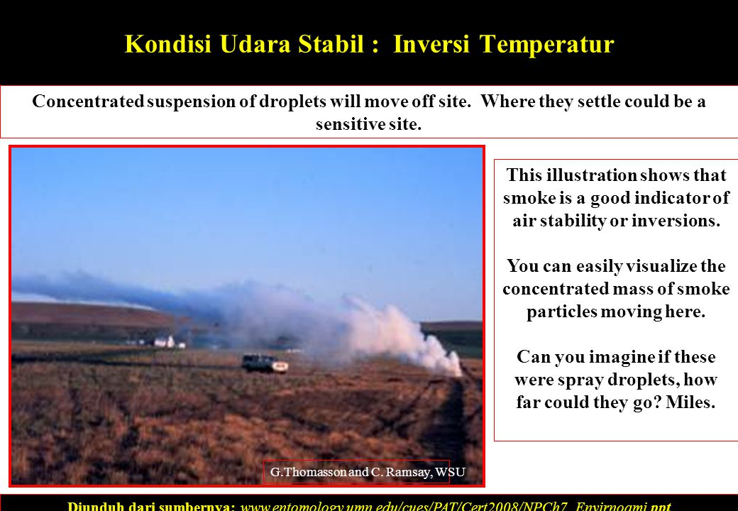 Kondisi Udara Stabil : Inversi Temperatur Concentrated suspension of droplets will move off site.