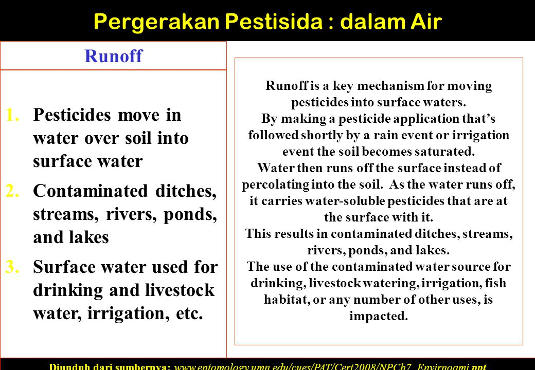 1.Pesticides move in water over soil into surface water 2.Contaminated ditches, streams, rivers, ponds, and lakes 3.Surface water used for drinking and livestock water, irrigation, etc.