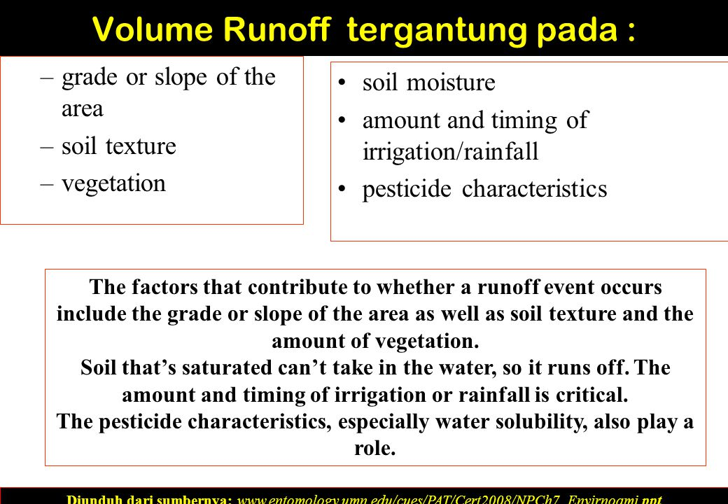 Volume Runoff tergantung pada : –grade or slope of the area –soil texture –vegetation soil moisture amount and timing of irrigation/rainfall pesticide characteristics Diunduh dari sumbernya: www.entomology.umn.edu/cues/PAT/Cert2008/NPCh7_Envirnoami.ppt‎ The factors that contribute to whether a runoff event occurs include the grade or slope of the area as well as soil texture and the amount of vegetation.