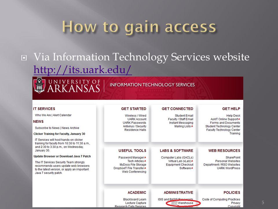  Via Information Technology Services website http://its.uark.edu/ http://its.uark.edu/ 5