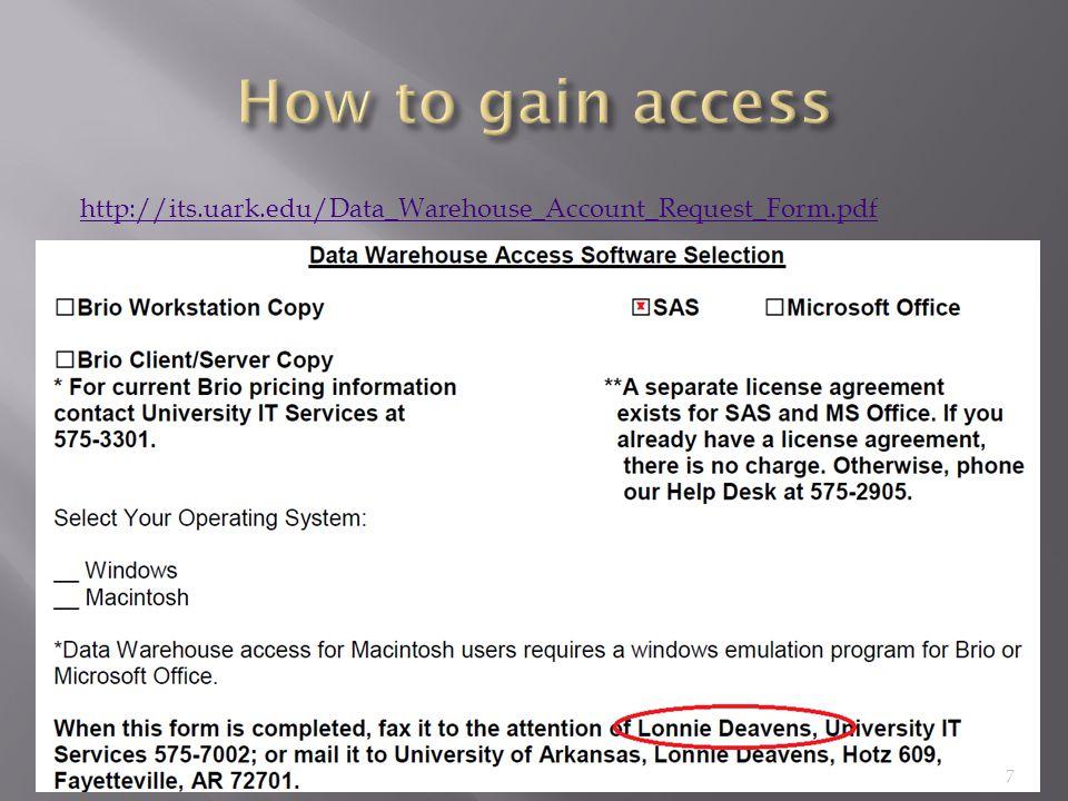 http://its.uark.edu/Data_Warehouse_Account_Request_Form.pdf 7
