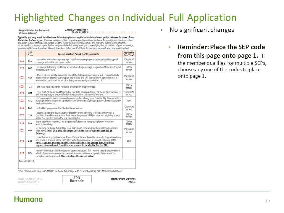10 Highlighted Changes on Individual Full Application No significant changes Reminder: Place the SEP code from this page onto page 1.