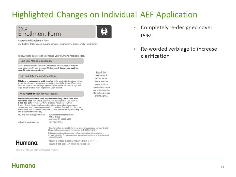 14 Highlighted Changes on Individual AEF Application Completely re-designed cover page Re-worded verbiage to increase clarification