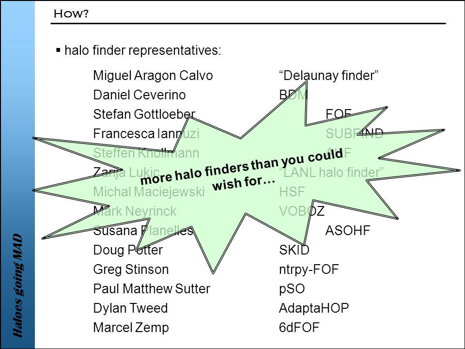 Haloes going MAD  halo finder representatives: How.
