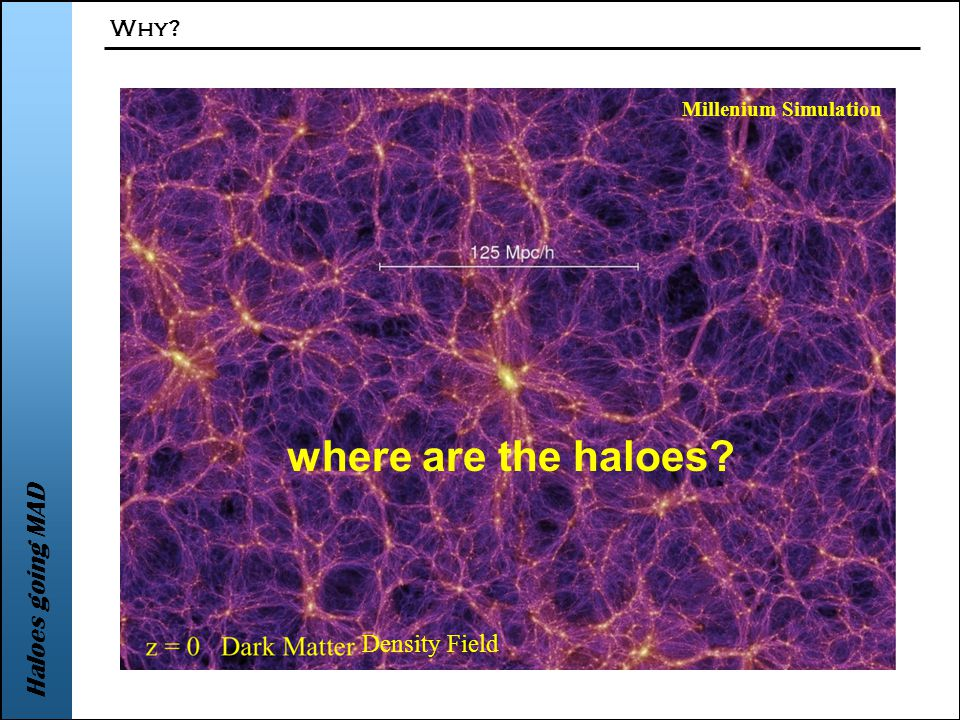 Haloes going MAD Why Millenium Simulation Density Field where are the haloes