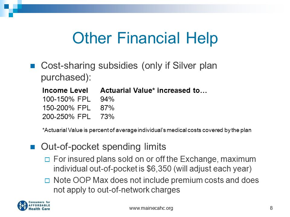 Other Financial Help Cost-sharing subsidies (only if Silver plan purchased): Out-of-pocket spending limits  For insured plans sold on or off the Exch