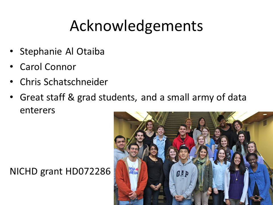 Acknowledgements Stephanie Al Otaiba Carol Connor Chris Schatschneider Great staff & grad students, and a small army of data enterers NICHD grant HD072286