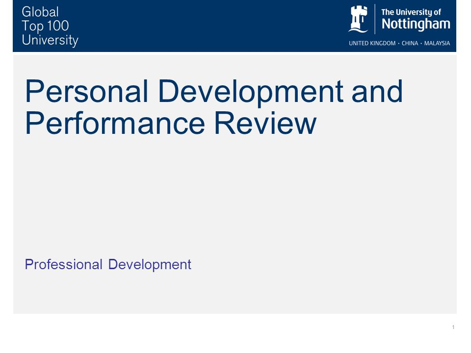 1 Personal Development and Performance Review Professional Development