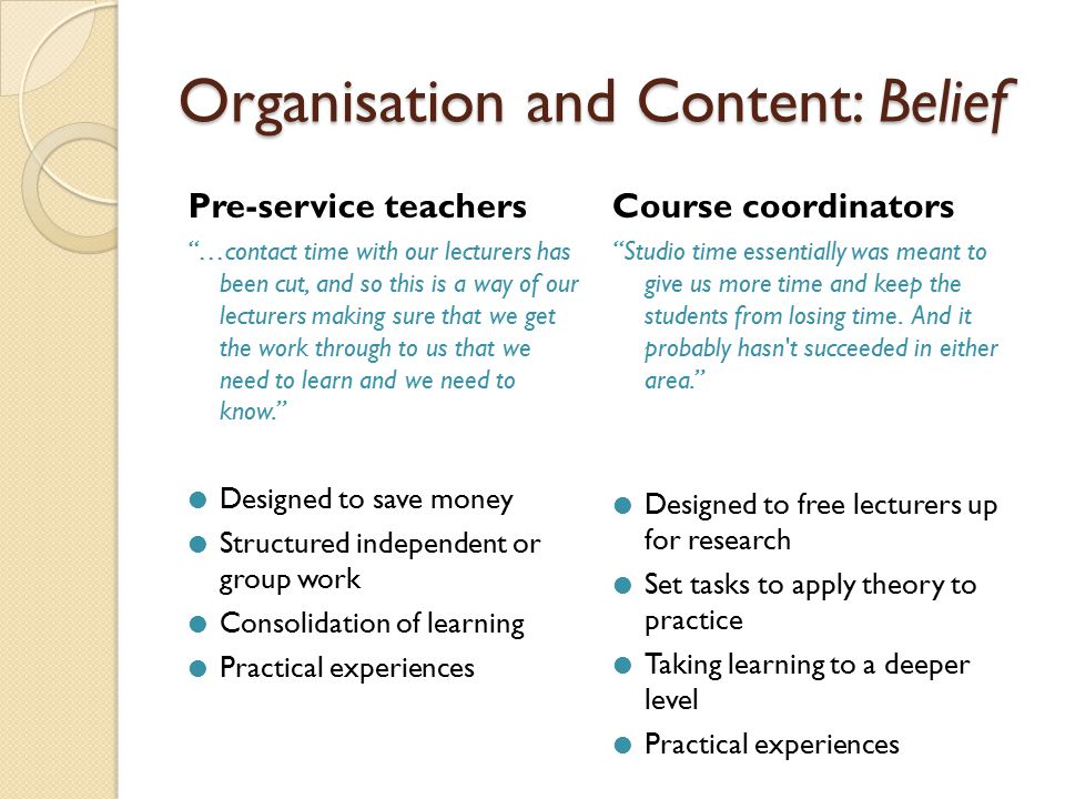 Organisation and Content: Practice Pre-service teachers We don't just want to be reading in studio time...we can do this at home!  Practical, useable, structured activities  Group tasks  Lecturers present for at least part of the time Course coordinators What I want them to do in studio time, and what makes it valuable, is to actually critique and interact with each other.  Structured, practical activities  Group interaction  Demonstrations/practical workshops