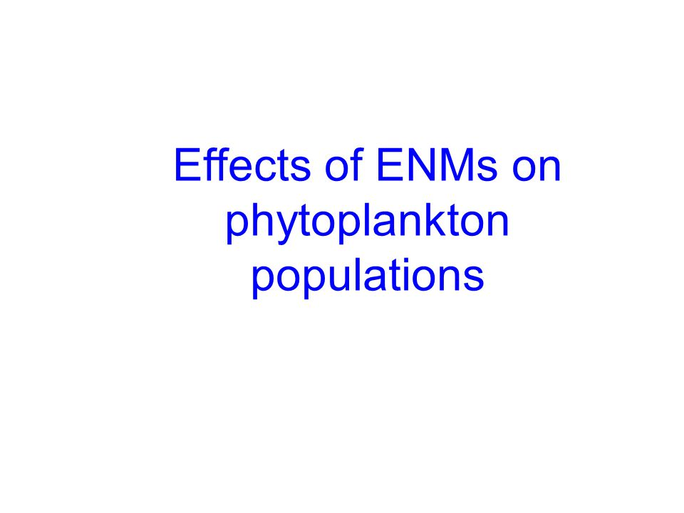 Effects of ENMs on phytoplankton populations
