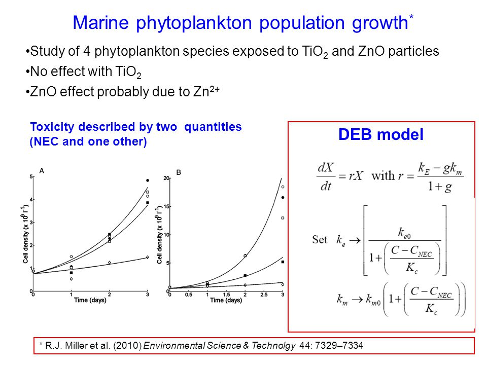 Marine phytoplankton population growth * Study of 4 phytoplankton species exposed to TiO 2 and ZnO particles No effect with TiO 2 ZnO effect probably due to Zn 2+ DEB model Toxicity described by two quantities (NEC and one other) * R.J.