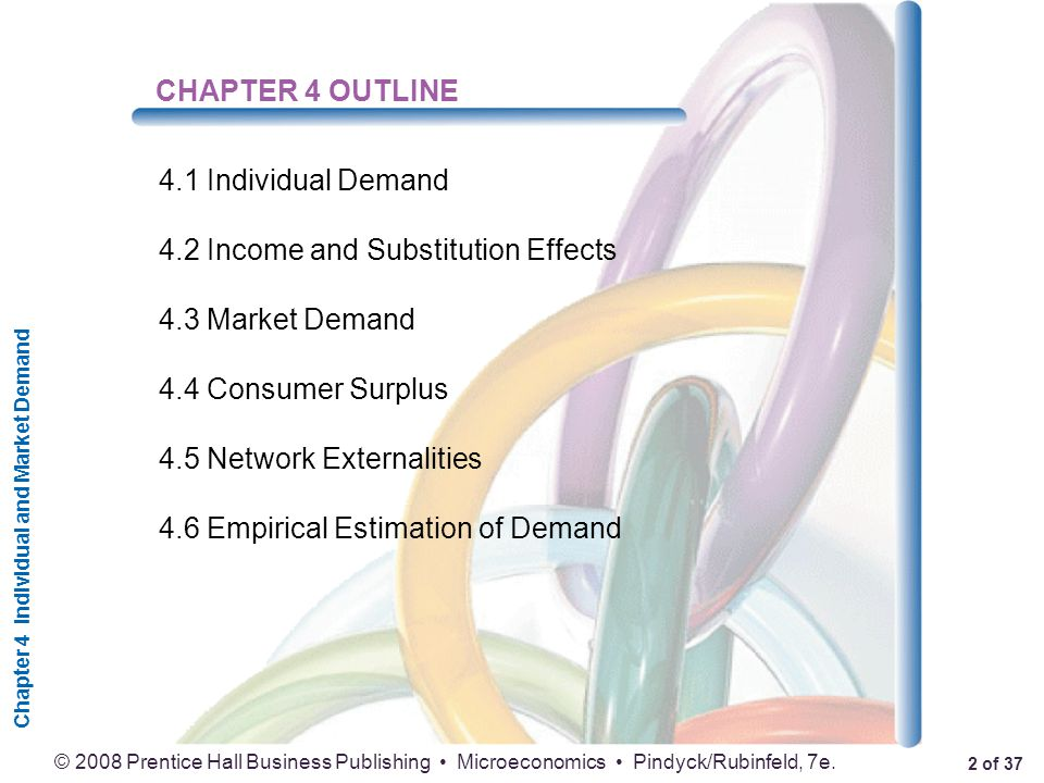 Chapter 4 Individual and Market Demand 2 of 37 © 2008 Prentice Hall Business Publishing Microeconomics Pindyck/Rubinfeld, 7e.
