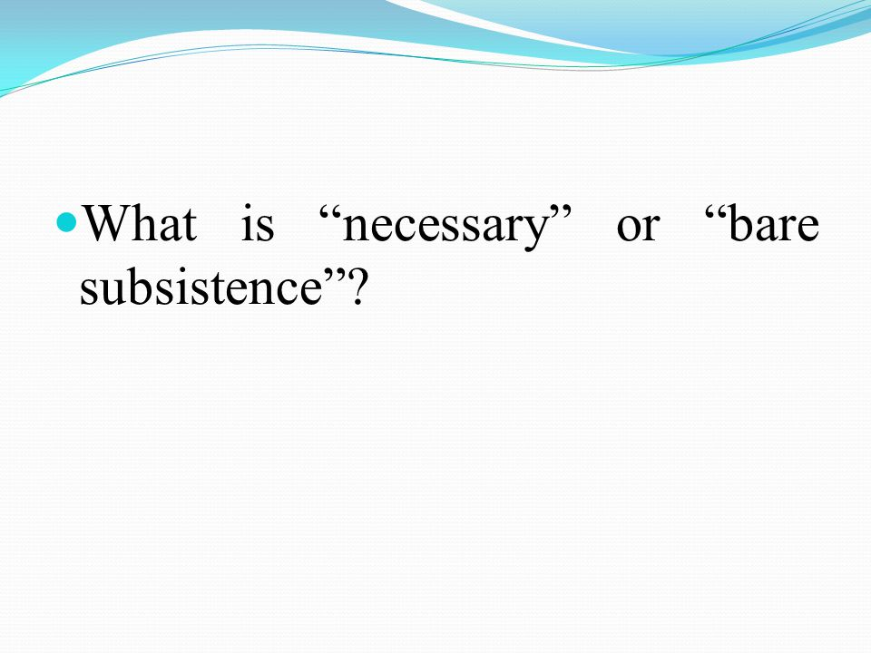 What is necessary or bare subsistence ?