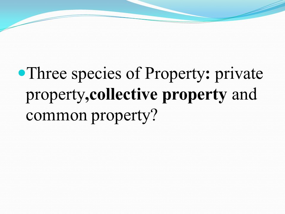 Three species of Property: private property,collective property and common property?