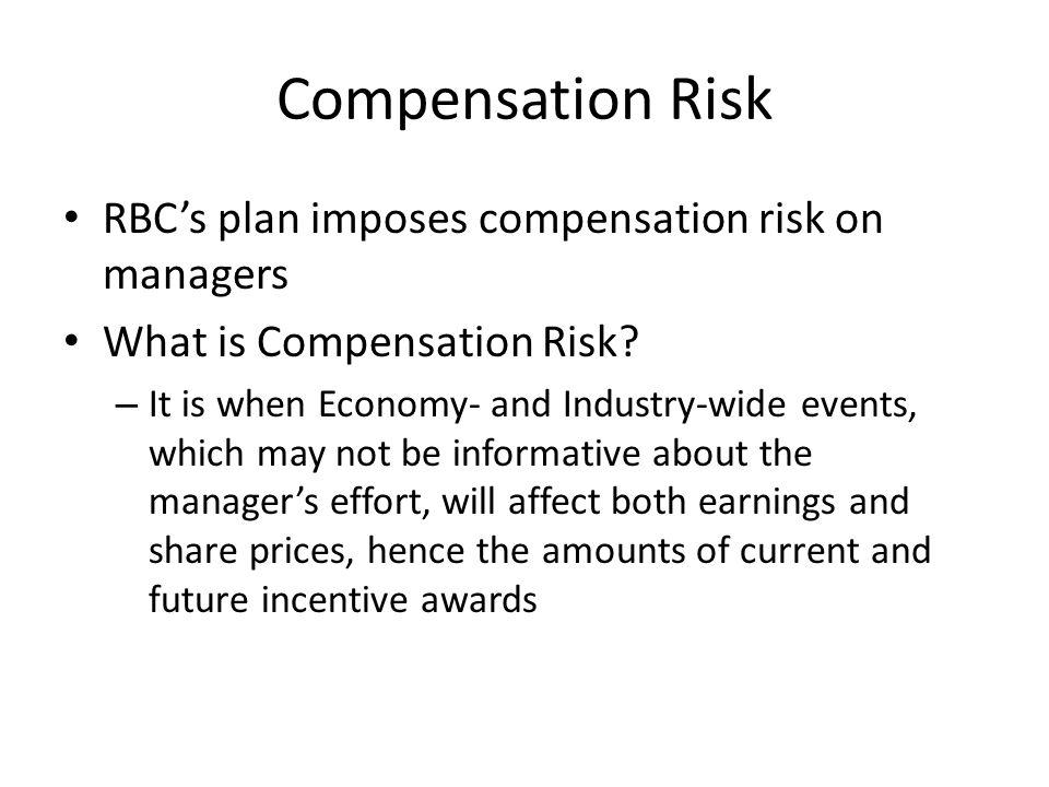 Compensation Risk RBC's plan imposes compensation risk on managers What is Compensation Risk.